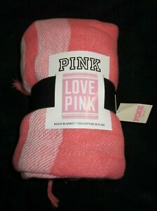 """PINK BY VICTORIA'S  SECRET 60"""" BY 50"""" LOVE PINK  BEACH BLANKET THROW, NEW # 539"""