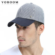 100% Cotton Men's Navy Stripes Trucker Hat Baseball Cap Snapback Driver Cabbie