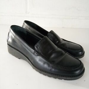 Bass Maggy Loafers Women Size 6.5 Black Leather Work Shoes