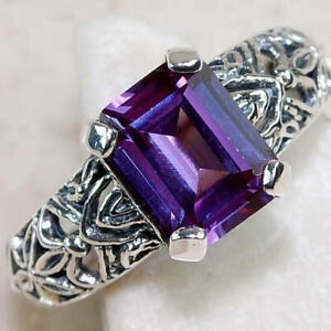 Fashion 925 Silver Purple Amethyst Cocktail Party Ring for Women Jewelry Gifts