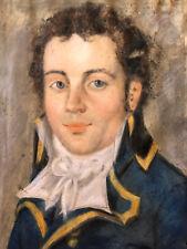 Huile sur Velin Début XIX Portrait Jeune Homme Antique French Painting