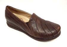 DANSKO Size 10 Brown Leather Loafers Shoes w/ pleated front
