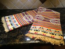 Excellent Clean! Multicolor Southwest Style Handmade Woven Blanket Fringed 60x72
