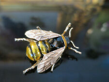 Gorgeous Vintage Art Deco design Bumble Bee Brooch, gold tone, enamel