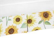 Sweet Jojo Crib Bed Skirt Dust Ruffle Yellow Green White Sunflower Boho Floral