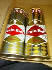 2 different 16 ounce Grain Belt pull tab beer cans straight steel