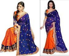 Saree paquistaní de Bollywood Diseñador Sari bordado tradicional desgaste de lujo de la India