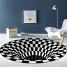 3D Printed Round Illusion Carpets Area Rug Vortex Door Mat Floor Mats Anti-slip