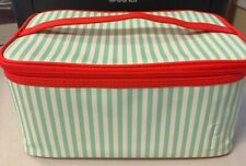 """Clinique large makeup beauty cosmetic train case bag white & green 10'x6'x5"""""""