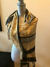NEW Gianni  Versace  Black Gold Silk Scarf Scarves Wrap