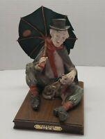 Vintage CAPODIMONTE Old Man Hobo with Umbrella and Dog Figurine