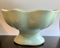 Vintage Brush Pottery 820 Pedestal Vase Planter Baby Blue Speckled Excellent