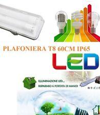 PLAFONIERA STAGNA NEON IP65 LED PER ESTERNO 60CM DOPPIA PER NEON A LED GARAGE