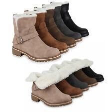 Damen Biker Boots Warm Gefütterte Stiefeletten Profil Schnallen 819286 Schuhe