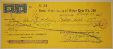 Vintage Bank Cheque - 1939 The Canadian Bank of Commerce - with 2 x 3 cent stamp