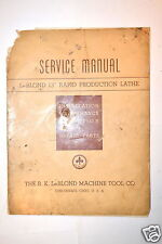 "SERVICE MANUAL LeBLOND 13"" RAPID PRODUCTION LATHE 1942 #RR553 incomplete"