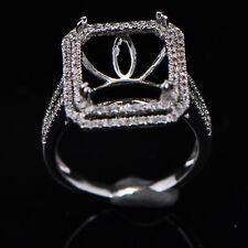 Gold Semi Mount Natural Diamond Ring 10x12mm Emerald Cut Solid 14K White