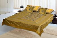 Silk Embroidery Bed Cover Hand Embroidered Silk 5 PC Bedding Set