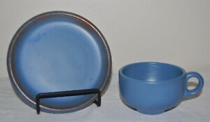 1930's Catalina Island Pottery Matte Blue Glaze Handled Cup and Small Plate