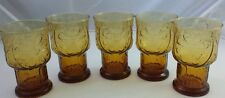 5 Vntg Retro Amber Colored Glasses Floral Flower Daisy Cocktails Drinks Tumbler