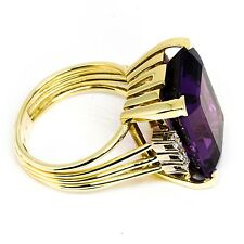 14K Yellow Gold Amethyst and Diamond Vintage Ring
