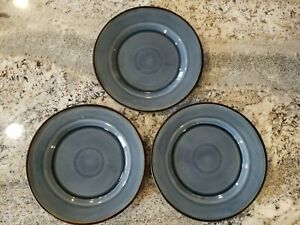 """Set of 3 Better Homes and Gardens BAMLEY BLUE Dinner Plates Brown Band 11"""""""
