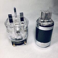 x2 •Hifi UK Power Plug Connector Rhodium Plated + Carbon IEC Female•