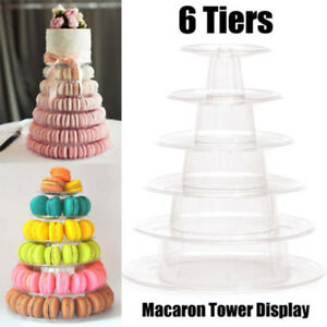 6 Tier Round Macaron Tower Stand Cake Display Rack PVC Tray For Wedding Birthday