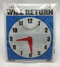"LARGE Double-Sided OPEN / WILL RETURN Sign w Clock Hands 7.5""x9"" Durable Plastic"