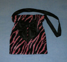 Ladies / Girls Pink Tiger/ Zebra Print Faux Fur / Velvet   Evening Bag / Handbag