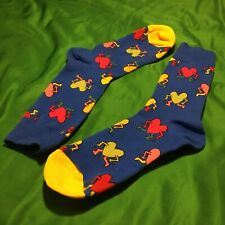 Keith Haring Inspired Socks 90s POP ART ONE SIZE BLUE STYLE