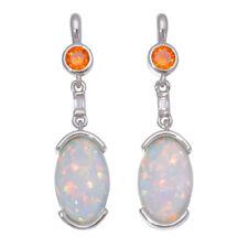 """White Fire Opal Garnet Silver for Women Jewelry Drop Earrings 1 3/ 8"""" LE4493"""