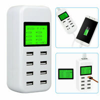 8-Port Smart Multi USB Hub Fast Charging Station  Wall Charger LCD Display