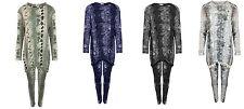 Womens Ladies Snake Print Pom Pom Loungewear Suit Tracksuit Set Plus Size 8-26