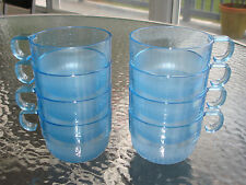 8 PC NEW TUPPERWARE PRELUDIO BLUE ACRYLIC STACKING CUPS/PUNCH BOWL CUPS