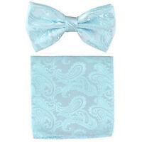 New formal Men's micro fiber Pre-tied Bow Tie & Hankie Blue paisley wedding