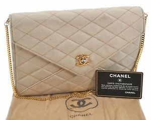 Authentic CHANEL Matelasse Canvas Leather Shoulder Bag Beige CC E2042