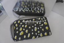 OROTON Track Print Large Multi Pocket Zip Around Wristlet Dark Olive RRP $295