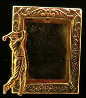 Golfer Male Photo Pin Brooch Golf 24 Karat Gold Plate
