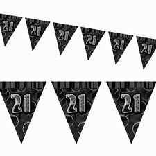12ft Black Sparkle Happy 21st Birthday Pennant Flag Banner Party Decoration