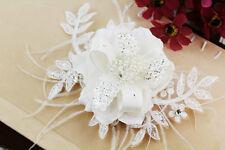 White Pearl Bridal Headpiece Crystal Feather Flower Laces Wedding Veils, 13B20