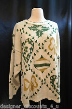 Womens Holiday Time UGLY Christmas Holiday Ivory green glitter sparkle Sweater L