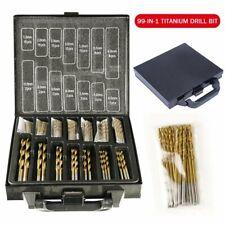 99pcs Metric HSS DIY 1.5-10mm Drill Bit Set kit Titanium Coated Metal Wood +Case