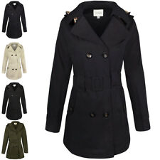 Womens Ladies Double Breasted Mac Belted Coat Canvas Smart Jacket Trench Parka Navy Blue Button Cotton Duffle Toggle Rain Girls School XXL - UK Size 18