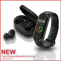 For Redmi Wireless TWS True Headset Bluetooth 5.0 Earphone+Mi Band 4 Smart Watch