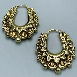 Vintage 9ct Yellow Gold Traditional Horseshoe Shaped Creole Ear Rings L345
