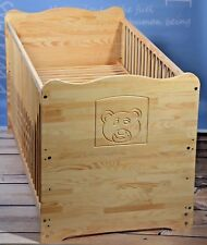 Cot Baby Bed Complete Set Kids Bed 2in1 Convertible 3 Engravings 120 Solid