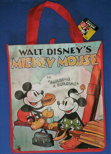 @DISNEY CLASSIC MICKEY & MINNIE MOUSE LARGE REUSABLE TOTE/SHOPPING/GIFT BAG@NWT!