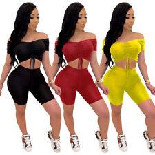 2pcs set Sexy Women Short Sleeves Off Shoulder Crop Top+Shorts Bodysuit Clubwear