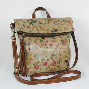 Patricia Nash Brown Flower Print Leather Messenger Backpack